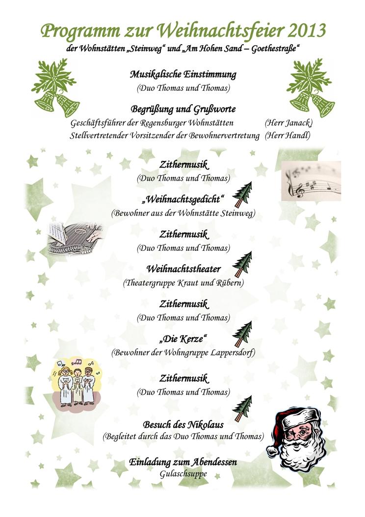 Ideen Programm Weihnachtsfeier.Weihnachtsfeiern 2013 Lebenshilfe Regensburg